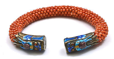 Old Chinese Silver Enamel Coral Carved Bead Dragon Bangle Bracelet Marked