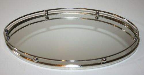 """Silver Oval Vanity Mirrored Tray 13"""" x 8"""" Perfume Makeup"""
