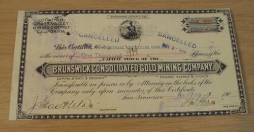 "1910 STOCK Certificate~""BRUNSWICK CONSOLIDATED GOLD MINING CO""~Grass Valley CA~"