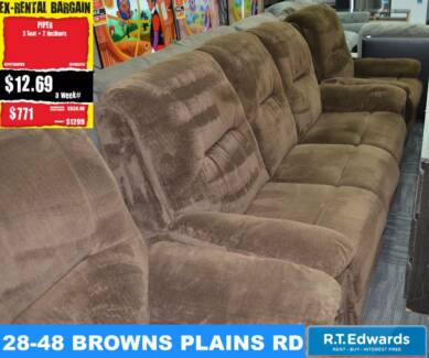 Piper 3 Seat Sofa + 2 Recliners with Warranty