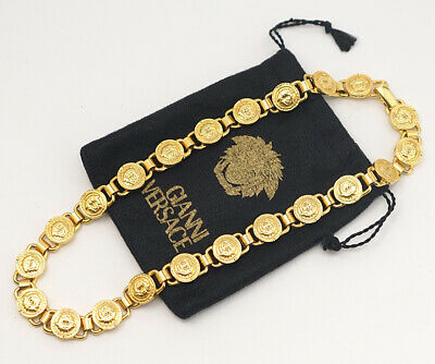 GIANNI VERSACE Mini Medusa Necklace/choker Gold Tone Vintage c770