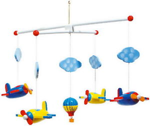 NEW Childrens Babies Wooden Bedroom Nursery Mobile - Aeroplanes Balloons Clouds