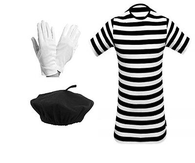 Children's French Mime Artiste T Shirt, Beret Hat, Gloves Fancy Dress - Child Mime Costume