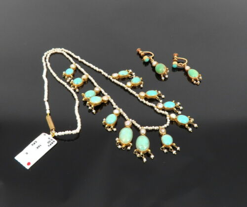 Antique Turquoise & Natural Pearl 14K Yellow Gold Necklace Earrings Set