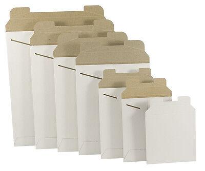 100  9-34 X 12-14 White Stay Flat Rigid Tab Lock Photo Mailing Envelopes