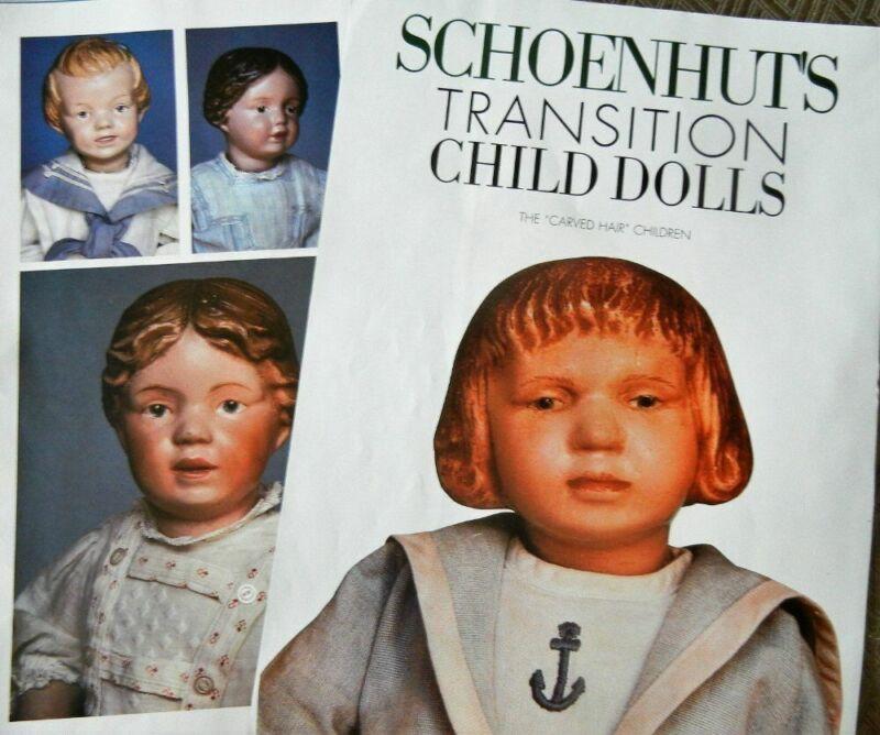 8p History Article + Pics -  Antique Wooden Schoenhut Carved Hair Child Dolls