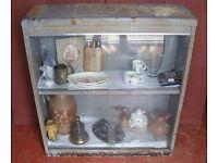 """Vintage Steel Industrial Double Door Glass Fronted Free Standing Display Cabinet.36""""W x 12"""" D x 40""""H"""