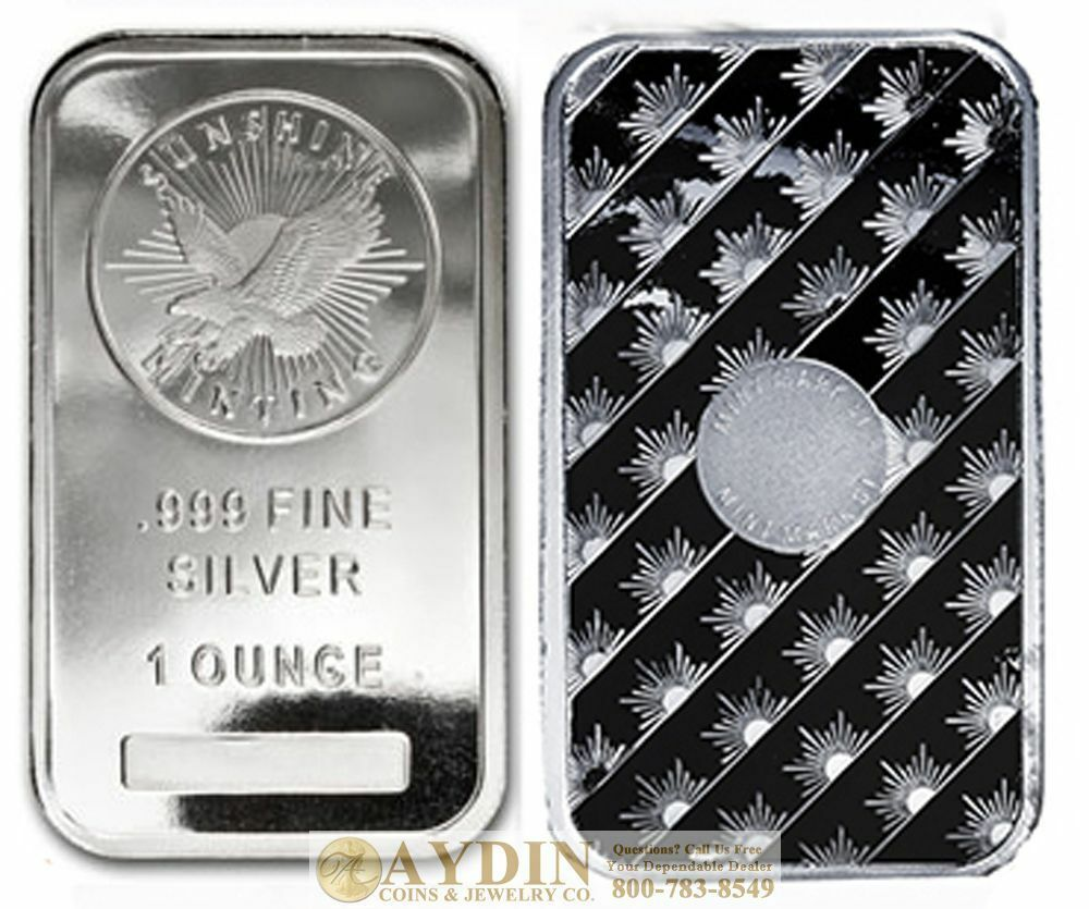 1 Troy Ounce Sunshine Minting Silver Bar 1 Oz 999 Fine