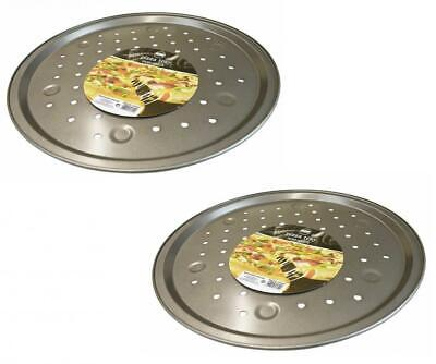 """Set of 2 Non-Stick 13"""" Crispier Vented Round Pizza Pan Kitchen Oven Baking Tray"""