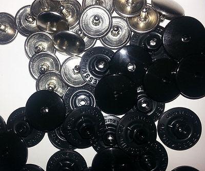 50 Patentknöpfe Kunststoff/Metall ca17mm schwarz Hosenknöpfe zum Zusammenstecken