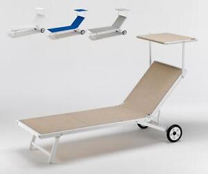 Lettino mare sdraio prendisole alluminio ruote parasole - Lettino piscina alluminio ...