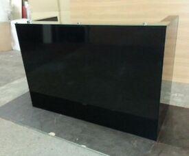 Black Gloss Reception Desk 1800mm/650mm/1200h