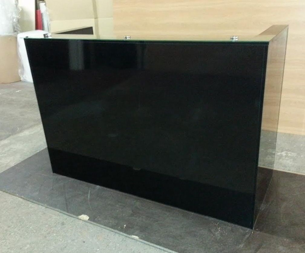 Black Gloss Reception Desk 1800mm 650mm 1200h