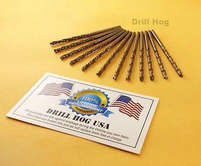 """Drill Hog USA 3/16"""" Cobalt Drill Bits M42 Drill Bit 12 Pack"""