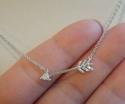 "Sterling Silver&Cubic Zirconia 16.5""Necklace- Cupid's Arrow Pendant Jewelry-E Cupid Silver Necklace"