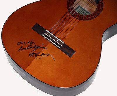 """Willie Nelson Autographed Signed Classical Guitar w/ Lyrics """"On The Road Again"""""""