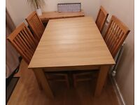 Extending Oak Dining Table with 6 Chairs