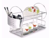 Stainless Steel Dish Drainer Rack Plate Drain Stand Holder