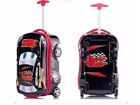 *** SALE Cars Black Sit Kids Hard Shell 4 Wheel Travel Luggage Cabin Suitcase Trolley Bag ***
