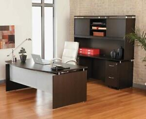 Laminate Office Desk w/ Credenza and Hutch Floating Top Style in Espresso Finish - BRAND NEW - FREE SHIPPING