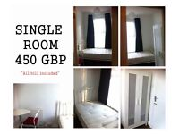 Single room 450 GBP per month. For one person only. Location : Forest gate, East London. Zone 3