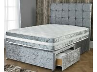 BRAND NEW!! UNIQUE DESIGN CRUSHED VELVET DIVAN BED WITH MATTRESS - STRONG & STURDY MATERIAL
