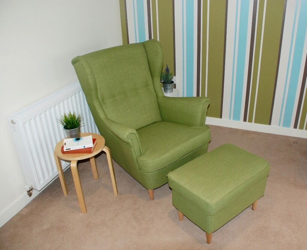 ikea wing chair strandmon footstool green in crewe. Black Bedroom Furniture Sets. Home Design Ideas