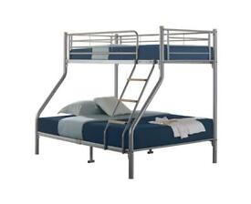 Triple sleeper, metal bunk bed, mesh base, mattress,