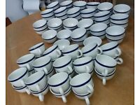 Steelite cups and bowls Cafe, crafts, candle making job lot blue and white