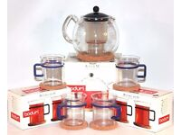 ✨ BODUM CLEAR FILTER TEAPOT AND 4 TEA GLASSES ~ COFFEE STRAINER ~ BLACK BLUE CUPS MUGS FILTER ✨
