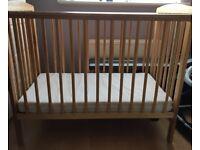 Wooden baby cot & mattress