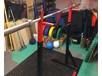 Complete home gym Hex bar bumper plates kettlebells bench