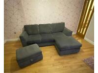 Grey Corner Sofa with Ottoman Foot Stool
