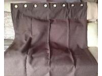 1 Pair Brown Lined Cotton & Polyester Curtains