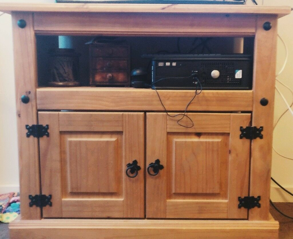 Solid Wood Oak TV Stand Unit Wooden Pine Sideboard With Storage Vintage Living Room Like New Only£50