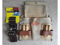 NEW QUALITY LEATHER TOOL/NAIL POUCH + NEW STANLEY TOOL BELT.