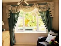 "Stunning 2 Set Swags/Tails Lined Curtains inc Pelmets-Duck Egg/Cream 90""x90'"