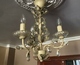 Shabby chic three bulb chandelier set of two excellent condition pick up luton
