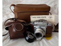 Agfa Ambi Sillette (35mm film) c1958 , 50mm f2.8 lens + hood, 1 filter, cases & manuals