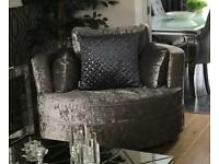 Large Crushed Velvet Cuddle Chair