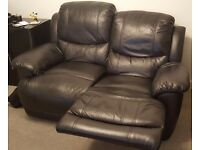 2 x 2 seater recliner black leather sofas