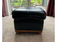 Genuine Italian, black, leather footstool in superb condition