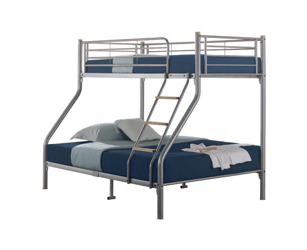 Triple Sleeper Bunk Bed Metal Wooden Ladder Mesh Base Double