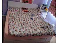 Queen bed with mattress and headboard White