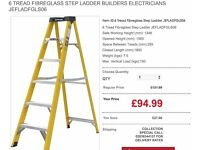 6 Tread Fibreglass Step Ladder Builders Electricians JEFLADFGLS06