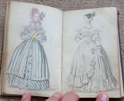 VICTORIAN LADIES POCKET MAGAZINE, COL' FASHION PLATES & B & W ENGRAVINGS, c1840