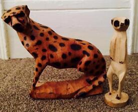 South African Leopard & Meerkat Wooden Ornaments Set