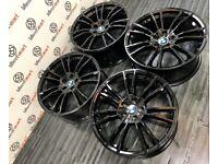 "NEW BMW 20"" M5 STYLE ALLOY WHEELS - 5 X 112 - GLOSS BLACK"