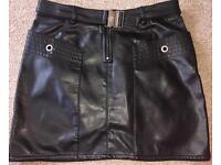 Ladies black leather Versace sport skirt 8/10 small