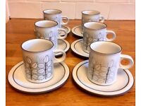 Hornsea Pottery Charisma Pattern Coffee Cups and Saucer White Earthenware x 6